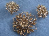 Sunflower Design by Sarah Coventry  Brooch and Earclips  1960s (SOLD)